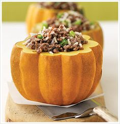 stuffed pumpkins from www.eatcleandiet.com. kind of finicky as you need to cook them just right but delicious nonetheless!