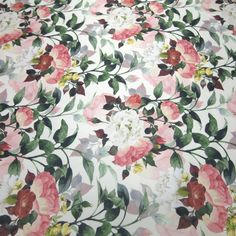 Tecido cetim italiano floral off white - Maximus Tecidos   Loja Online