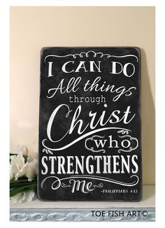 CHALKBOARD I can do ALL things through Christ by ToeFishArt, $89.00