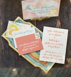 watercolor invitation suite by Megan Soh at Petitely Blog, calligraphy by Meant to Be Calligraphy