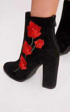 Black Rose Embroidered Ankle BootsPut your best foot forward with these ankle boots. Featuring a ...
