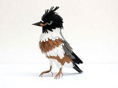 Belted kingfisher - paper bird sculptures by Diana Beltran Herrera