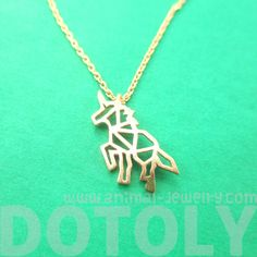 Unicorn Outline Cut Out Charm Necklace in Rose Gold