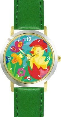 Easter Chick Hatching out of Easter Egg No.3 Easter Theme - WATCHBUDDY® DELUXE TWO-TONE THEME WATCH - Arabic Numbers - Green Leather Strap-Children's Size-Small ( Boy's Size & Girl's Size ) WatchBuddy. $49.95. Save 38% Off!