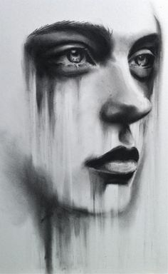 Charcoal drawing by Kate Zambrano. I love how the downward movement creates a narrative. It is no longer a simple portrait - is she sad, rained on, looking out a window in the rain...melting??