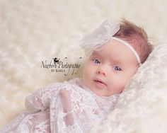 Newborn Photography Prop Stretch Lace Wrap and hand made headband by BeansInaBucket, $18.50