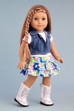 Feeling Happy - Colorful skirt with white t-shirt, blue jeans vest and white cowgirl boots - American Girl Doll Clothes - $28.97