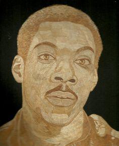 Eddie Murphy in rice straw art portrait  Handmade by museumshop, $159.00