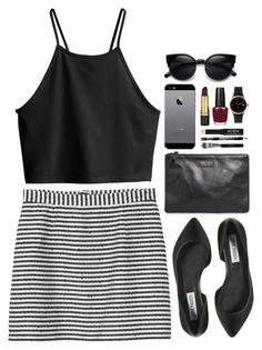 """Ooh La"" by vogue-breakfast ❤ liked on Polyvore featuring Monki, H&M, MANGO, Steve Madden, Dreyfuss & Co, Revlon, Bare Escentuals and OPI"