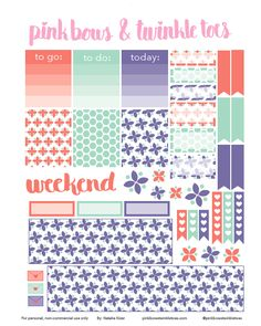 FREE Sherbet Blossoms Planner Stickers by Pinkbow & Twinkle toes