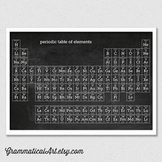 Chalkboard Periodic Table of Elements Poster Geekery Science Gift Chemistry Science Art Office Decor 16x20 Gifts for Teachers Office Decor
