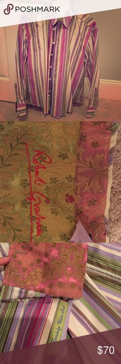 Robert Graham dress shirt Multi colored stripes with embroidery throughout.  Worn but in excellent condition!! Robert Graham Shirts Dress Shirts