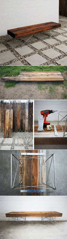 11 Super Cool DIY Backyard Furniture Projects • Lots of Ideas and Tutorials! Including, from 'the brick house', this very cool diy fence bench made from old fence boards and modern mid century legs. Love this!