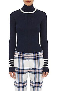 Striped Wool Turtleneck Sweater