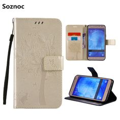 Soznoc Luxury PU Leather Card Slots Phone Case Smartphone Back Cover For Samsung Note 3 4 5 J1 J1 Ace J2 J3 J5 J7 A3 A5 A7 2016