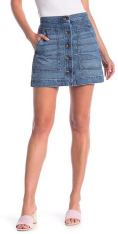 b277116b14 7 Best Button front denim skirt images in 2017 | Denim skirts, Denim ...