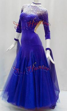B4119 Ballroom Cocktail Standard Waltz Tango Dance Dress US 12 sleeve #seahunter