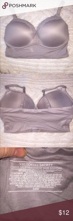 Victoria's Secret bra 34DD Gray Victoria's Secret bra. Gray with lace detail on neckline and straps. Straps are adjustable/convertible. There is no clasp on band, this is a great bra to wear as a crop top under a kimono with high waisted shorts or to wear under a shirt with a plunging neckline for extra coverage. Reasonable offers will be considered via the offer button. Happy poshing!!! Victoria's Secret Intimates & Sleepwear Bras