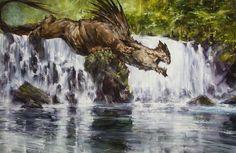 Glaurung at Eithel Irvin by Eric Velhagen Alien Concept Art, Creature Concept Art, Creature Design, Fantasy Dragon, Dragon Art, Gandalf, Legolas, Fantasy Creatures, Mythical Creatures