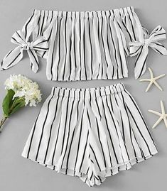 outfits Bardot Striped Bow Tie Sleeve Crop Top With Shorts Dresses Kids Girl, Cute Girl Outfits, Cute Summer Outfits, Cute Casual Outfits, Pretty Outfits, Girls Fashion Clothes, Teen Fashion Outfits, Outfits For Teens, Girl Fashion