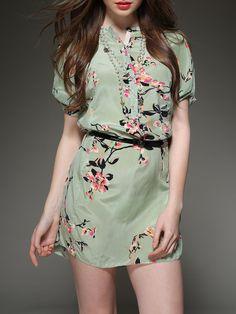 Silk Short Sleeve Elegant Shift Mini Dress Stylewe