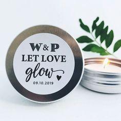 Gepersonaliseerde bedankblikjes! Let Love glow met een waxinelichtje ♡.