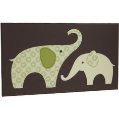 """Carter's Green Elephant Canvas Wall Art-1 Piece 12"""" X 21"""", Green/Choc, 12 X 12"""""""