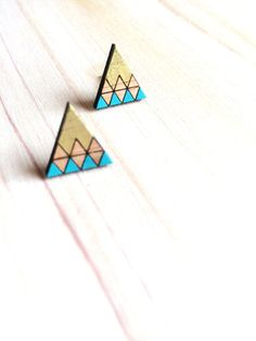Hand Painted Laser Cut Wood Geometric Triangle Pattern Stud Earrings- Gold Tip  & Blue