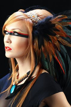 Feather Headdress - Ishtar Feather Headdress. $250.00, via Etsy.