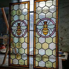 The panels shown in the pictures are inspired by the Manchester Worker Bee. Comprising of a dark amber outer border with a mixed pale amber honeycomb background. The glass contains small inclusions, bubbles & lines which adds to the character & charm of the pieces. | eBay!