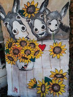 donkeys with sunflowers Artist Wilma and Bella on FB Animal Paintings, Animal Drawings, Art Drawings, Dot Painting, Watercolor Paintings, Donkey Drawing, Animal Cutouts, Southwestern Art, Barnyard Animals
