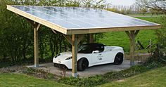 How freaking cool would it be to just plug your car into your own solar-paneled car port when you get home? Screw you gas stations... I make my own fuel.