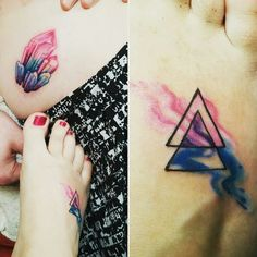 """This is one of those tattoos that is very near and dear to me. Kaleb & I finally got our matching tattoos with our own interpretation. I know it's a little late for """"coming out day"""" but I feel comfortable enough to just be me and not hide anymore from my true feelings. I am bisexual and I am proud of the woman I have become. """"Being bi kicks ass"""" -Kelsey&Kaleb #beingbikicksass #bisexualgirls #tattoo #bi #lovemeasiam #comingout #loveislove"""