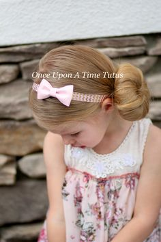 Pink Gold Chevron Glitter Bow Headband  by OnceUponATimeTuTus