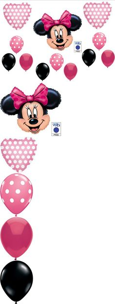 PINK MINNIE MOUSE BIRTHDAY PARTY Balloons Decorations Supplies - A 12-piece Minnie Mouse Happy Birthday balloon decorating kit.    You will receive:  One (1) 27 Minnie Mouse large head mylar shape balloon.   Two (2) 18 Pink polka dot heart shape mylar balloons   ... - Balloons - Office Products - $8.60