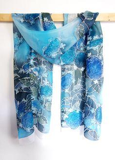 Hortensia scarf  silk scarf Hydrangea scarf  hand by MinkuLUL