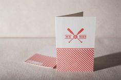 Letterpress Greeting Card - Wedding Oar, bamboo paper, kraft paper envelope, C4-V10 on Etsy, $5.00