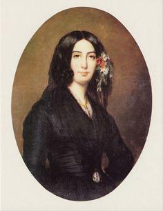 """peinture française : A. Charpentier, """"George Sand"""", 1835, portrait, femme écrivain, romantisme, 1830s"""