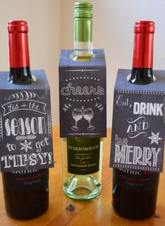 Christmas Hostess Gifts for the Cocktail Party: Personalized Chalkboard Design Wine Gift Tags (set of 6) by Hearts and Crafty @ Etsy