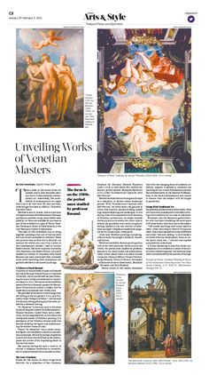 Renaissance Paintings Make a Splash—Works by Venetian Masters Unveiled to Publi|Epoch Times (really like the font for Arts & Style as well as having it centred) Newspaper Design Layout, Page Layout Design, Graphisches Design, Magazine Layout Design, Book Design, Renaissance Paintings, Renaissance Art, Graphic Design Brochure, Typography Poster Design