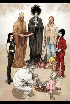 Sandman. I would hang the storyboards in my museum. One of the greatest graphic novels of all time. Period. The Endless (clockwise, from left): Death, Destiny, Dream, Destruction, Desire, Delirium, and Despair. Art by Frank Quitely