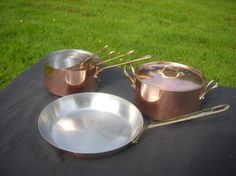 Tournus Copper Clad Kitchen Set - Four (4) Pans, One (1) Frying Pan Skillet & One (1) Oven Dish - French Vintage by Normandy Kitchen on Gourmly