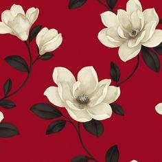 Sophie Conran Magnolia Flower Cream & Red Wallpaper | Departments | DIY at B&Q
