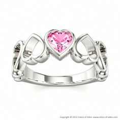 VALENTINE Ring with Pink Sapphire in 18k White Gold #heart