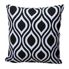 This stylish throw pillow features a bold black and white geometric motif in cotton wrapped around a plush polyester fill. Add this throw to any chair, bed, chaise or sofa for a modern touch of texture.