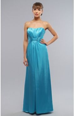Trendy A-line Ankle-length Strapless Blue Elastic Woven Satin Dress