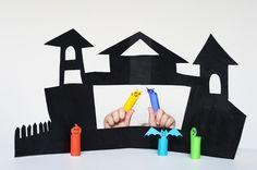 Plantilla para casita encantada y marionetas de dedo // Made by Joel » DIY Halloween Puppet Theater