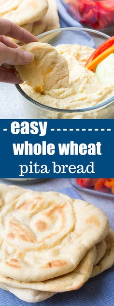 An easy recipe for homemade whole wheat pita bread, made with just a few pantry ingredients. You will love how soft and flavorful this pita bread is! | www.kristineskitchenblog.com