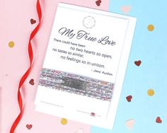 True Love gift card which includes a romantic Jane Austen quote and a beautiful Liberty of London bracelet. Perfect for gifting to the special person in your life, this gift is sure to be very well received. The Liberty of London bracelet will arrive beautifully wrapped round the card and includes a matching envelope, ready for gifting. A truly unique and beautifully presented gift that will bring joy and smiles to whoever you gift it to, even yourself!