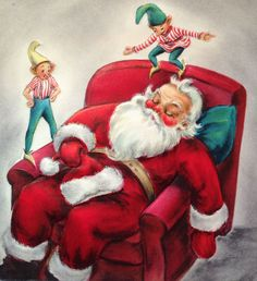 Vintage Santa, Retro Santa, Santa and Elves